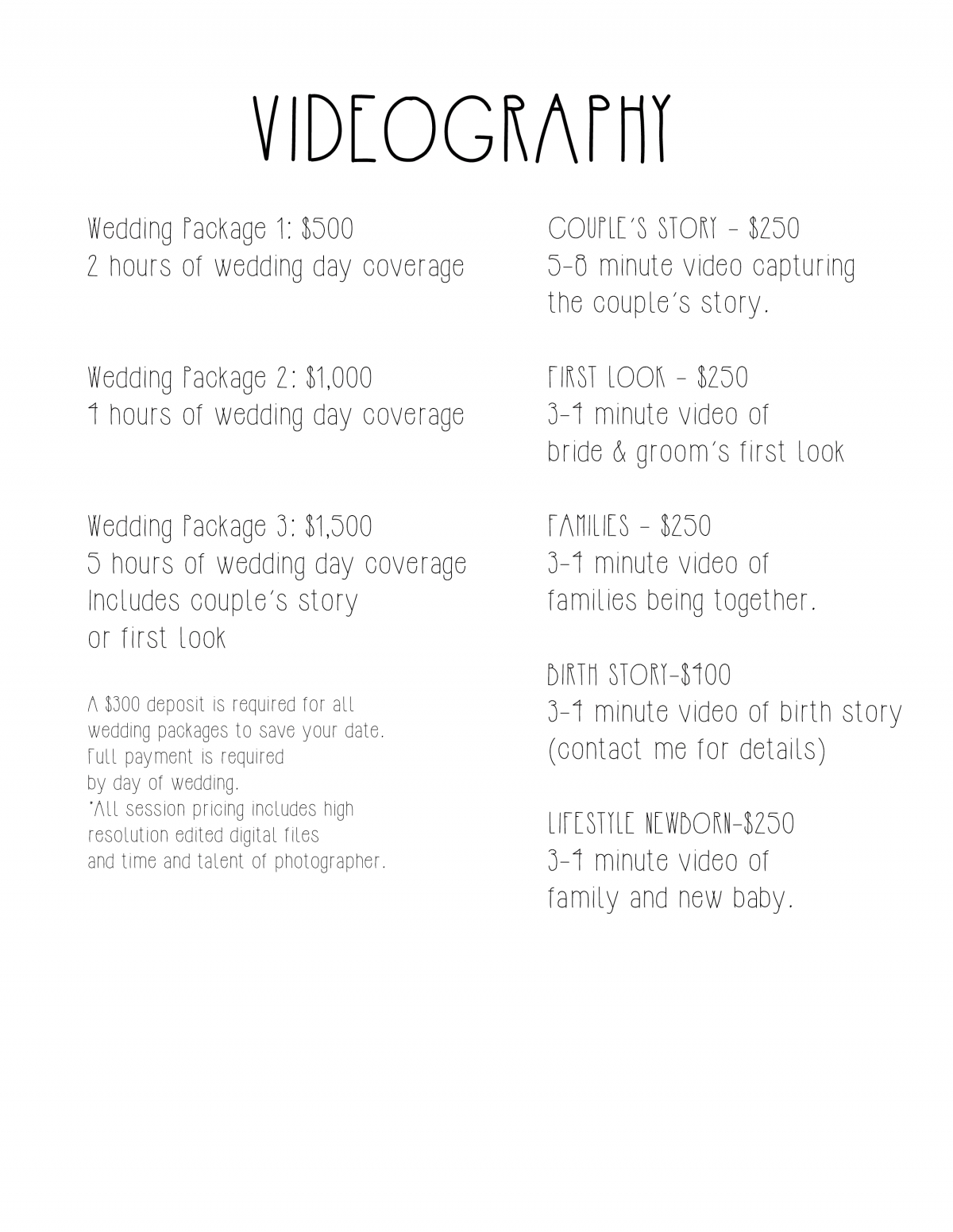 Videography Pricing » Elizabeth Curtis Media